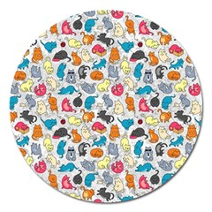 Funny Cute Colorful Cats Pattern Magnet 5  (round)