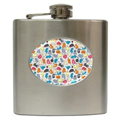 Funny Cute Colorful Cats Pattern Hip Flask (6 Oz)