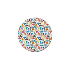 Funny Cute Colorful Cats Pattern Golf Ball Marker