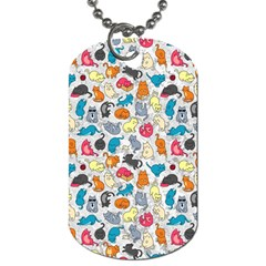 Funny Cute Colorful Cats Pattern Dog Tag (two Sides)