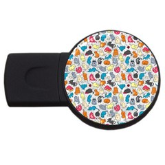 Funny Cute Colorful Cats Pattern Usb Flash Drive Round (2 Gb)