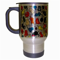 Funny Cute Colorful Cats Pattern Travel Mug (silver Gray)