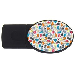 Funny Cute Colorful Cats Pattern Usb Flash Drive Oval (4 Gb)
