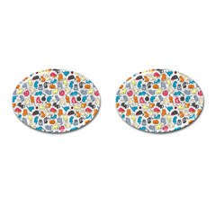 Funny Cute Colorful Cats Pattern Cufflinks (oval)