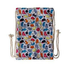Funny Cute Colorful Cats Pattern Drawstring Bag (small) by EDDArt