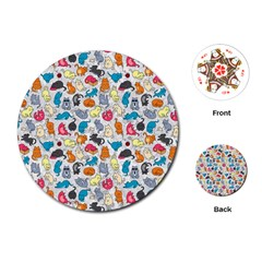 Funny Cute Colorful Cats Pattern Playing Cards (round)