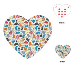 Funny Cute Colorful Cats Pattern Playing Cards (heart)