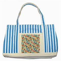 Funny Cute Colorful Cats Pattern Striped Blue Tote Bag