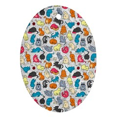 Funny Cute Colorful Cats Pattern Oval Ornament (two Sides)