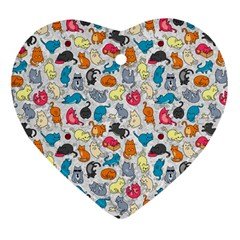 Funny Cute Colorful Cats Pattern Heart Ornament (two Sides)