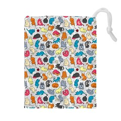 Funny Cute Colorful Cats Pattern Drawstring Pouches (extra Large)