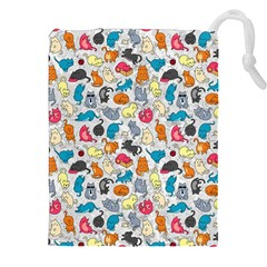 Funny Cute Colorful Cats Pattern Drawstring Pouches (xxl)