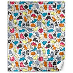 Funny Cute Colorful Cats Pattern Canvas 16  X 20