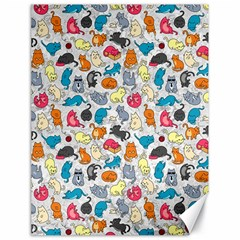 Funny Cute Colorful Cats Pattern Canvas 18  X 24