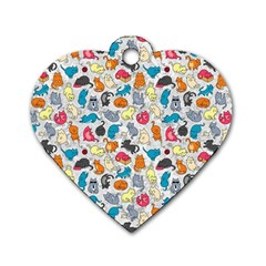 Funny Cute Colorful Cats Pattern Dog Tag Heart (one Side)