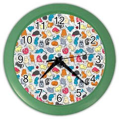 Funny Cute Colorful Cats Pattern Color Wall Clock
