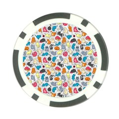 Funny Cute Colorful Cats Pattern Poker Chip Card Guard (10 Pack)