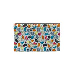 Funny Cute Colorful Cats Pattern Cosmetic Bag (small)