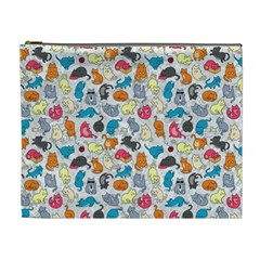 Funny Cute Colorful Cats Pattern Cosmetic Bag (xl)