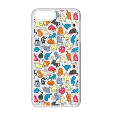 Funny Cute Colorful Cats Pattern Apple Iphone 7 Plus Seamless Case (white)