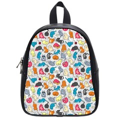 Funny Cute Colorful Cats Pattern School Bag (small)