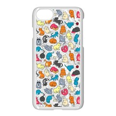 Funny Cute Colorful Cats Pattern Apple Iphone 7 Seamless Case (white)