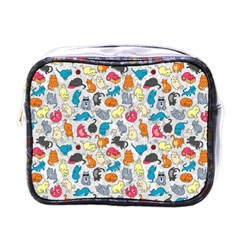 Funny Cute Colorful Cats Pattern Mini Toiletries Bags