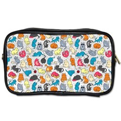 Funny Cute Colorful Cats Pattern Toiletries Bags by EDDArt