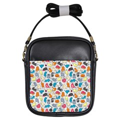 Funny Cute Colorful Cats Pattern Girls Sling Bags by EDDArt