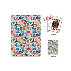 Funny Cute Colorful Cats Pattern Playing Cards (mini)