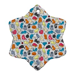 Funny Cute Colorful Cats Pattern Ornament (snowflake)