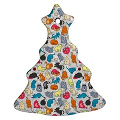 Funny Cute Colorful Cats Pattern Christmas Tree Ornament (two Sides)