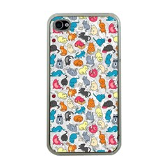 Funny Cute Colorful Cats Pattern Apple Iphone 4 Case (clear)