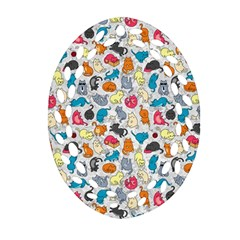 Funny Cute Colorful Cats Pattern Ornament (oval Filigree)