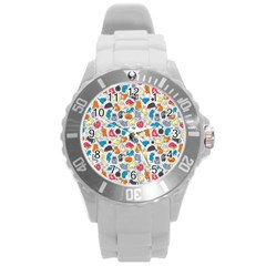 Funny Cute Colorful Cats Pattern Round Plastic Sport Watch (l)
