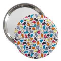 Funny Cute Colorful Cats Pattern 3  Handbag Mirrors