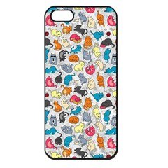 Funny Cute Colorful Cats Pattern Apple Iphone 5 Seamless Case (black)