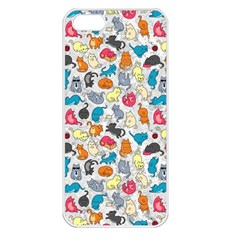 Funny Cute Colorful Cats Pattern Apple Iphone 5 Seamless Case (white)