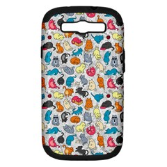 Funny Cute Colorful Cats Pattern Samsung Galaxy S Iii Hardshell Case (pc+silicone)