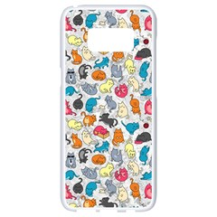 Funny Cute Colorful Cats Pattern Samsung Galaxy S8 White Seamless Case