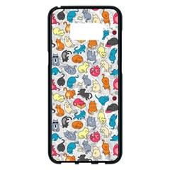 Funny Cute Colorful Cats Pattern Samsung Galaxy S8 Plus Black Seamless Case