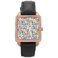Funny Cute Colorful Cats Pattern Rose Gold Leather Watch