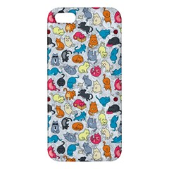 Funny Cute Colorful Cats Pattern Apple Iphone 5 Premium Hardshell Case