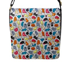 Funny Cute Colorful Cats Pattern Flap Messenger Bag (l)