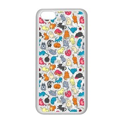 Funny Cute Colorful Cats Pattern Apple Iphone 5c Seamless Case (white)