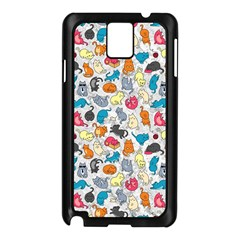 Funny Cute Colorful Cats Pattern Samsung Galaxy Note 3 N9005 Case (black) by EDDArt