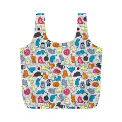 Funny Cute Colorful Cats Pattern Full Print Recycle Bags (m)