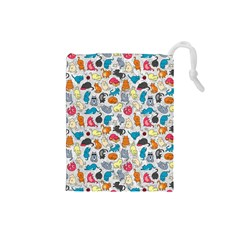 Funny Cute Colorful Cats Pattern Drawstring Pouches (small)