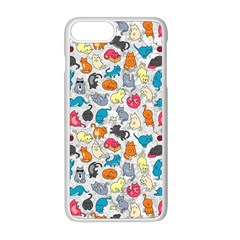 Funny Cute Colorful Cats Pattern Apple Iphone 8 Plus Seamless Case (white)