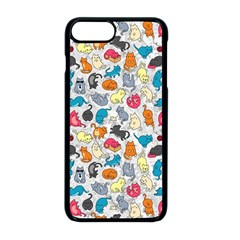 Funny Cute Colorful Cats Pattern Apple Iphone 8 Plus Seamless Case (black)